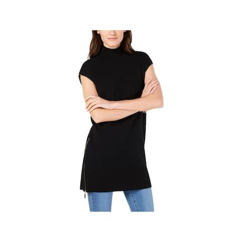 INC Womens Black Cap Sleeve Turtle Neck Top Size L