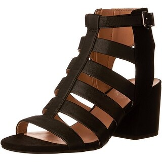 Franco Sarto Womens Mesa Suede Open Toe Casual Strappy Sandals, Black, Size 10.0