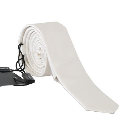 Dolce & Gabbana White Silk Logo Slim Men's Tie - One Size