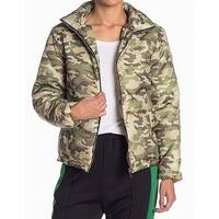 Know. One. Cares Green Womens Size Medium M Camo-Print Puffer Jacket