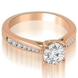 0.70 cttw. 14K Rose Gold Cathedral Channel Set Round Diamond Engagement Ring