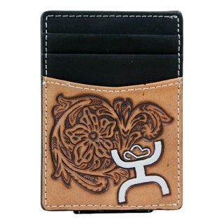 HOOey Western Wallet Mens Magnetic Money Clip Signature Bone 1623462MN - 2 3/4 x 1/8 x 4