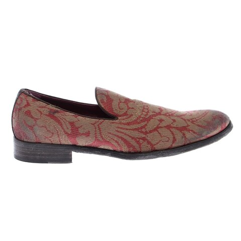 Dolce & Gabbana Red Gold Fabric Baroque Loafers Shoes - 40
