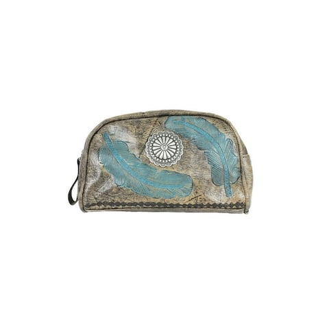American West Western Cosmetic Case Women Sacred Charcoal Turq - Charcoal Turquoise - 8 x 5 x 2.5