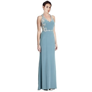 Marchesa Notte Sparkling Beaded Embellished Silk Halter Gown Dress