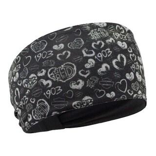 Harley-Davidson Women's Grunge Heart Print Headband, Black & Gray HP27075 - One Size