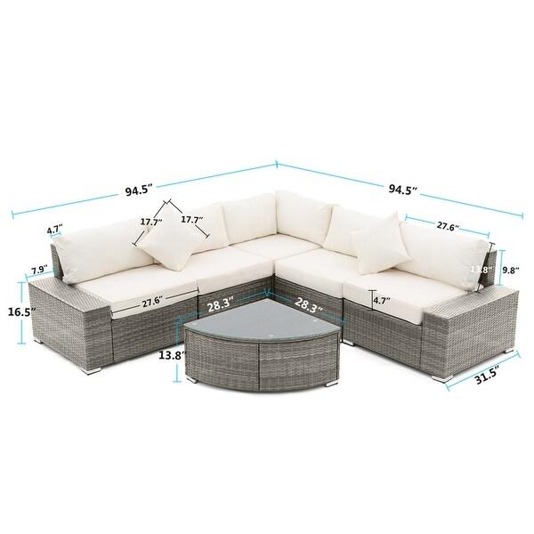 6 Pieces Patio Sofa Set, Rattan Sectional Conversation Set