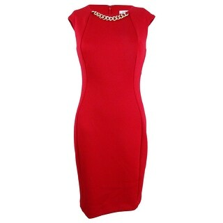 Calvin Klein Women's Sleeveless Embellished Dress - Red