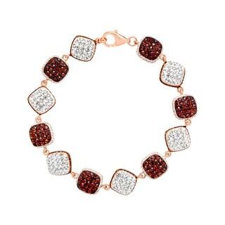 Crystaluxe Link Bracelet with Swarovski Crystals in 18K Rose Gold-Plated Sterling Silver - brown