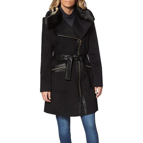 Via Spiga Faux Fur Wool Coat for Women- Slim Fitted Asymmetric Jacket with Belt