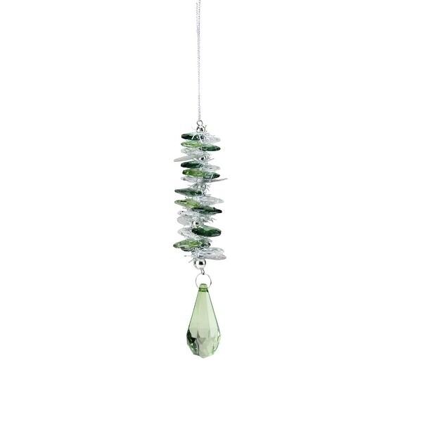 "6"" Seasons of Elegance Holographic Christmas Drop Ornament with Teardrop Pendant - green"