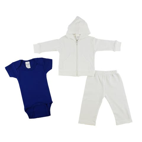 Set of 3 Navy Blue and White Infant Sweatshirt, Onesie and Pants - New Born