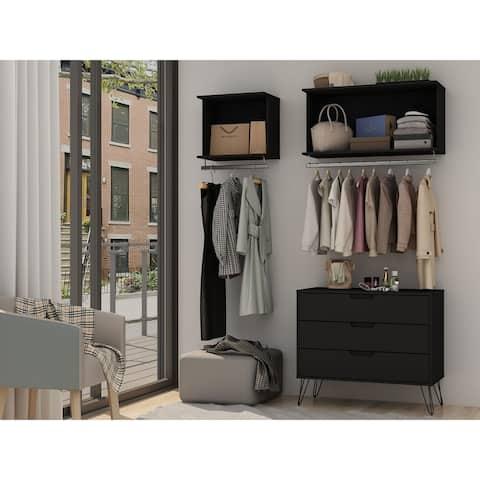 Rockefeller 3-Piece Open Closet Wardrobe with 2 Hanging Rods