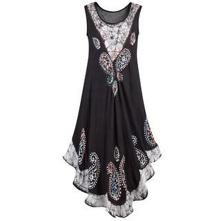 Black Tie-Dye Trim Sundress - Paisley Print Sleeveless Midi Length Dress with Hi Low Hem