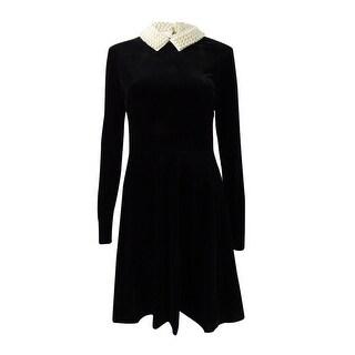 Betsey Johnson Velvet Imitation-Pearl-Collar Dress - Black