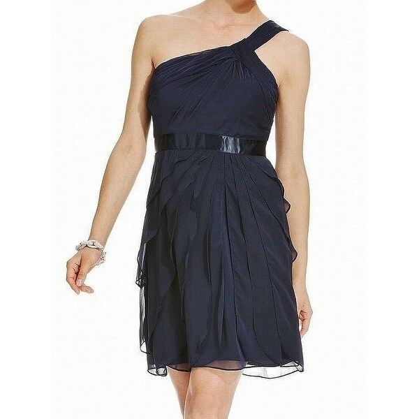 Adrianna Papell Blue Womens Size 12 Ruffle One Shoulder Shift Dress