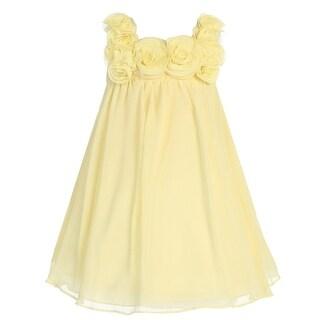 Little Girls Banana Rose Trim Chiffon Flower Girl Dress 2T-6 (3 options available)