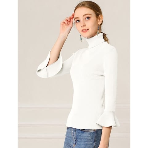 Women's Ruffle Sleeves Pullover Turtleneck Stretchy Knit Sweater Slim Fit Shirt