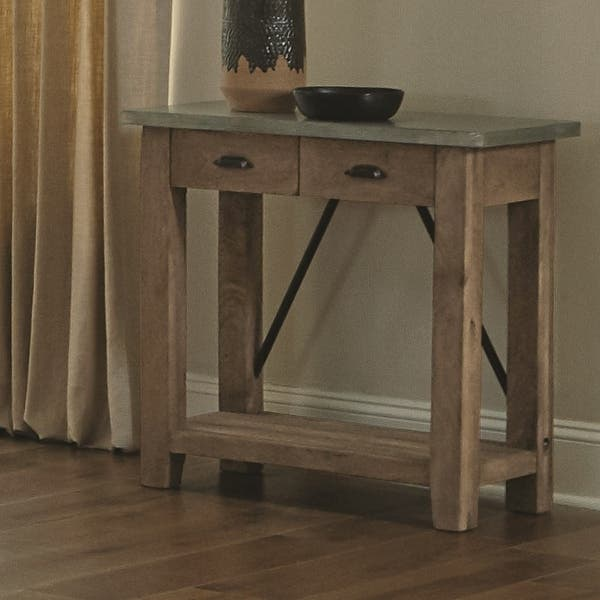 Carbon Loft Blitz Wood and Zinc Metal 30-inch Console Table with 2