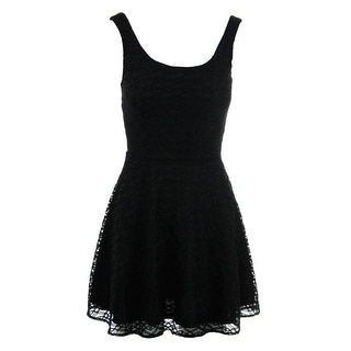 Aqua Womens Lace Overlay Sleeveless Cocktail Dress