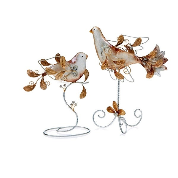 """8"""" Gold and Silver Metal and Capiz Shell Turtledove Christmas Table Top Decoration"""