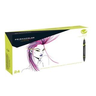 Prismacolor Premier Double Ended Art Marker, Brush/Fine Tip, Assorted Colors, Pack of 24