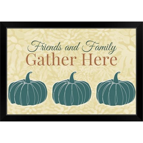 """""""Friends and Family Gather Here"""" Black Framed Print"""