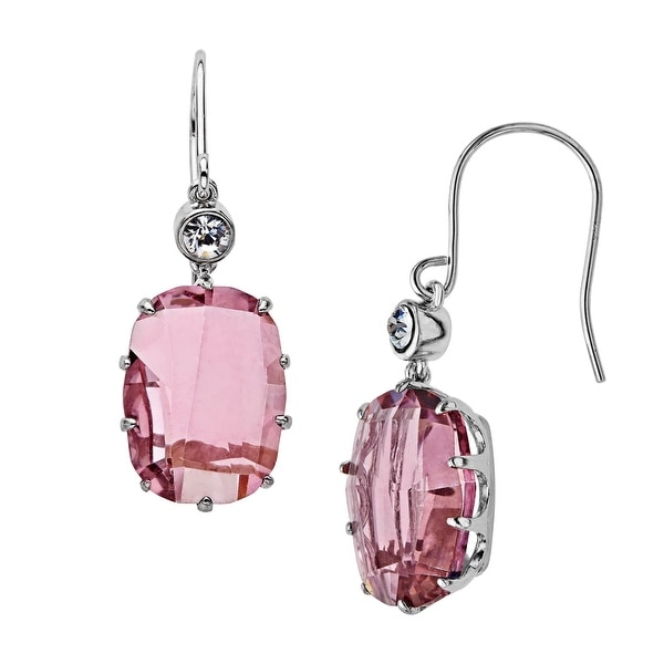 Rock & Redemption Antique Pink & White Crystal Drop Earrings in Sterling Silver