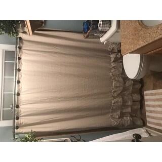 Veratex Grand Luxe Vintage Beige Linen Ruffle Shower Curtain
