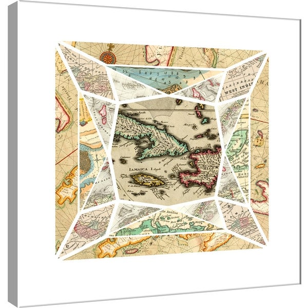 "PTM Images 9-101025 PTM Canvas Collection 12"" x 12"" - ""Caribbean Maps Gem"" Giclee Maps Art Print on Canvas"