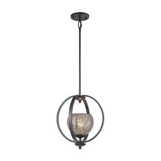 Woodbridge Lighting 13923MEB-MIR 1 Light Adjustable Height Foyer Pendant with Metallic Bronze Finish and Mirror Mosaic Glass