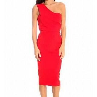 Nicole Bakti NEW Red Womens Size 14 One-Shoulder Ruffled Sheath Dress