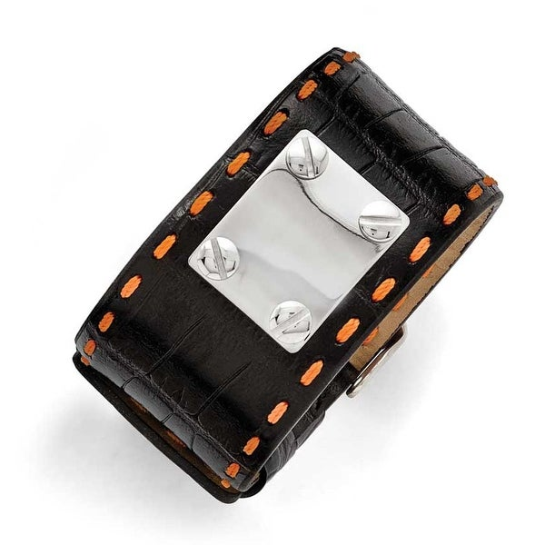 Chisel Stainless Steel Black Leather Orange Stitch Buckle ID Bracelet
