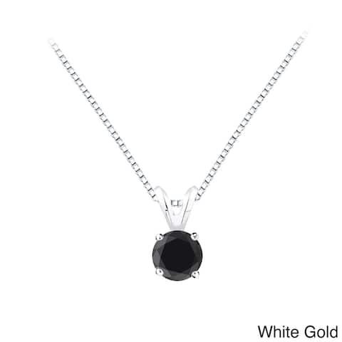 Auriya 1/2ctw Solitaire Black Diamond Necklace 14k Gold