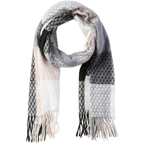 6.25' Pink, Black, and White Stylish and Fashionable Tickled Pink Oakley Plaid Fringe Scarf