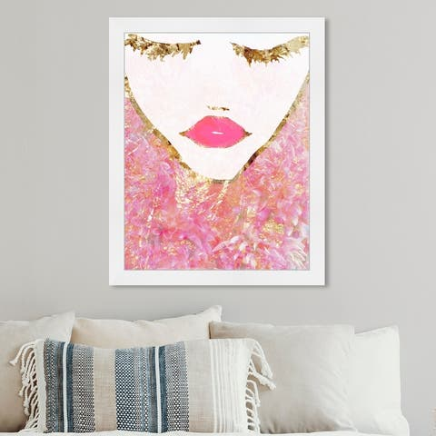 Oliver Gal 'Goldbloom Coveted' Fashion and Glam Wall Art Framed Print Portraits - Pink, Gold