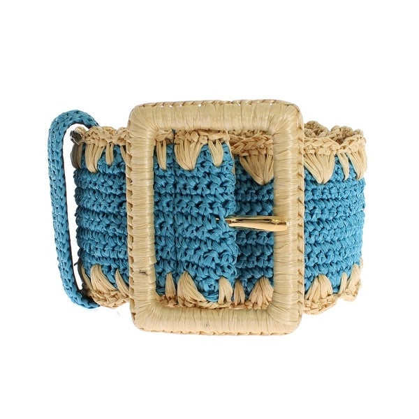 Dolce & Gabbana Turquoise Raffia Woven Wide Belt - 85-cm-34-inches