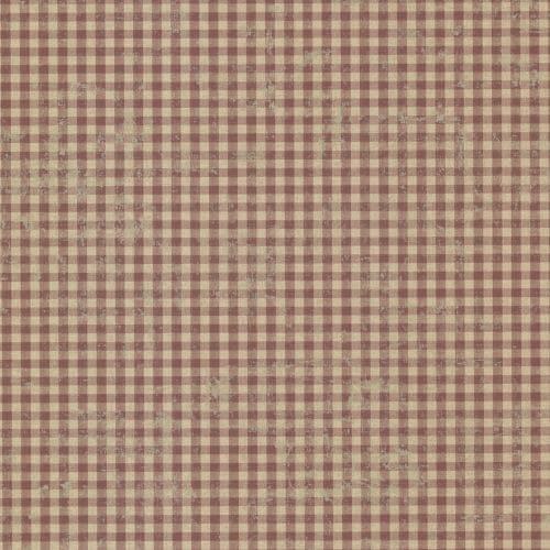 Brewster CTR44017 Greer Burgundy Gingham Check Wallpaper