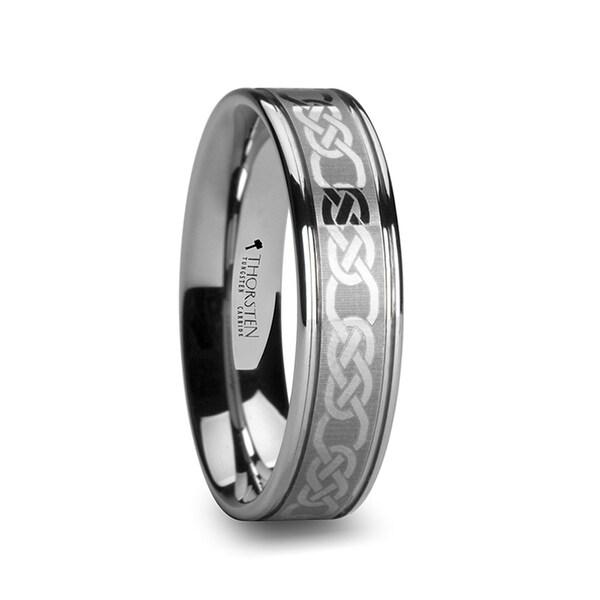THORSTEN - PALATINE Celtic Pattern Laser Engraved Tungsten Wedding Band - 6mm