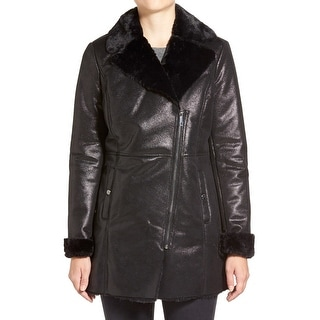 Kenneth Cole NEW Black Women's Medium M Faux Shearling Coated Coat