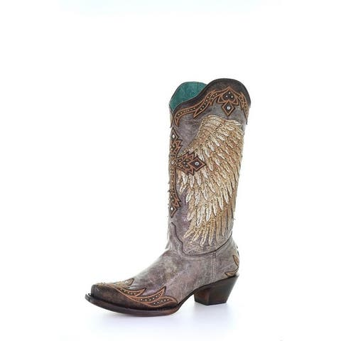 """Corral Western Boots Womens Wing & Cross Studs 13"""" Tobacco"""