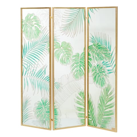 "Tempered Glass and Metal Room Divider w Botanical Detail 61.5"" X 72.5"" - 62 x 1 x 73"