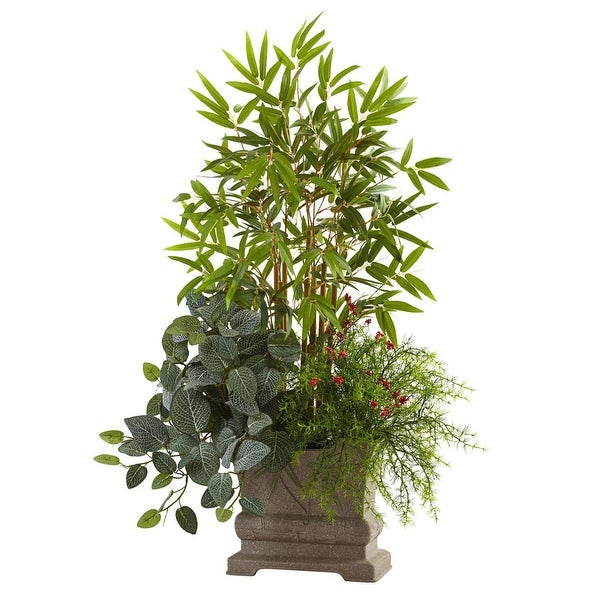 "Nearly Natural Home Decor 38"" Mixed Mini Bamboo, Fittonia & Springeri W/Planter"