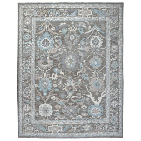 "Shahbanu Rugs Brown Peshawar With Mahal Design Organic Wool Hand Knotted Oversize Oriental Rug (11'9"" x 14'5"") - 11'9"" x 14'5"""