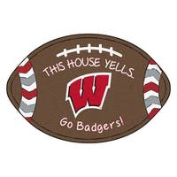 NCAA University of Wisconsin Badgers Football Shaped Mat Area Rug