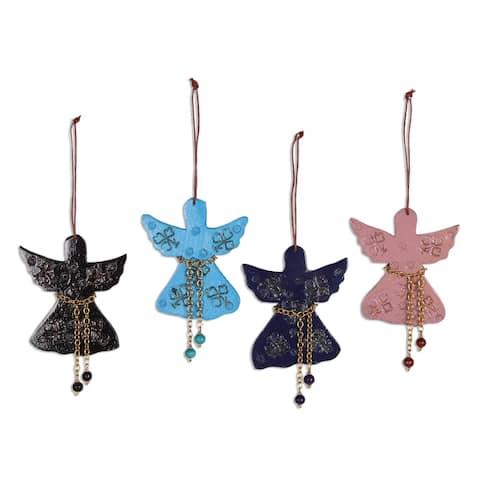 Novica Handmade Seasonal Message Wood Ornaments (Set Of 4)