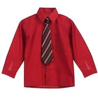 Little Boys Red Stripe Tie Long Sleeve Button Special Occasion Dress Shirt 2T-7