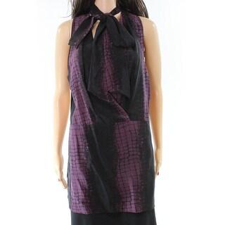 Robert Rodriguez Purple Black Printed Tie-Neck 6 Tank Silk Top