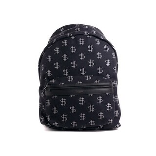 Saint Laurent City Dollar Sign Black Canvas Full Backpack