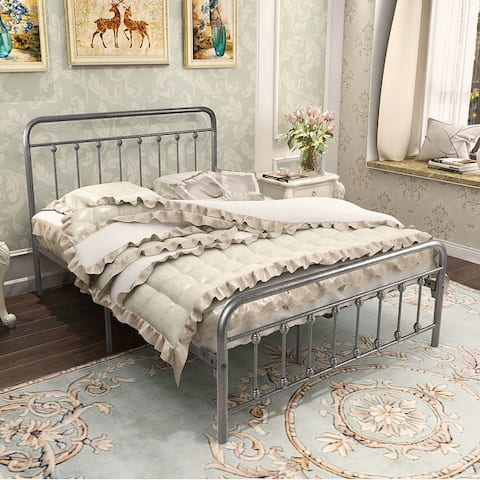 Multi-size black modern metal bed